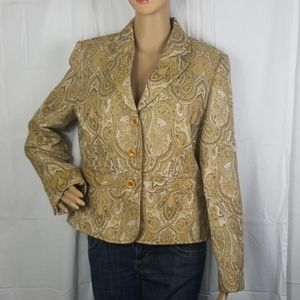 Cato gold and tan paisley print button up blazer